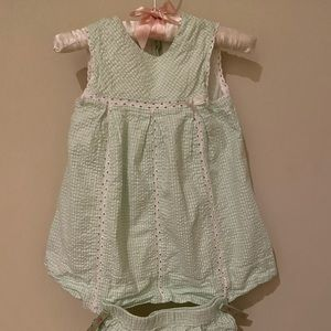 Light green and white gingham outfit